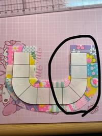 パッチワークについて質問させてください。 縫代無しの型紙に、1センチの縫代を付けて裁断し繋げているのですが、何度やっても仕上がりサイズが実物大サイズになりません。 何度やっても画像のように、左側を合...