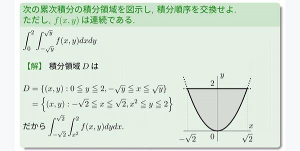 累次積分についてです。 画像の積分領域Dの積分順序を交換している所で、何故そうなるのか分かりません。教えて下さい。(>人<;)