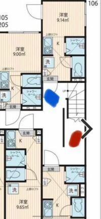 アパートの間取りの見方を教えてください。 画像のような間取りの場合、階段を1階から上がったときに2階の辿り着く場所は赤か青かどちらになるのでしょうか?