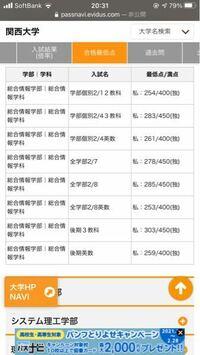 関西大学の合格最低点について。ここに記載されてる点数を0.85で割れば素点の合格最低点が出るという認識であってますでしょうか?
