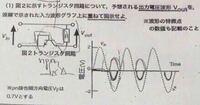 トランジスタ回路について予想される出力電圧波形を図示せよ。 入力波形と出力波形は同じになりますか? 答えがなくて困っています。教えていただけると嬉しいです。