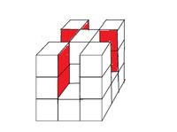 算数 数学 ソフト 添付図は3×3×3の立方体の一部を切り取ったものです。 お願い1 添付図を手書きでなく、ソフトで描いた図を貼っていただけないでしょうか。  質問 添付図(ペイントで地道に作成しました)の立体を書くにあたって、無料かつ操作が易しいソフトがあれば教えてください。  パソコンはWindows10を使用しています。