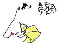 昔見た風刺画を探しています。日露戦争に関する風刺画です。 内容は、日本(普通の人)とロシア(熊)が1対1で喧嘩をしていて、 それを色々な国が見ている中、ドイツ(恐らくヴィルヘルム2世)が 秘密裏にダイナマイトに火をつけるというものです。  分かる人いましたらよろしくお願いします。  ※画像は大まかなイメージです。