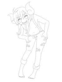 イラストの赤ペン添削希望です。  立った状態で腰に手を当ててこちらを見ている ニヒルなキャラクターを描きたかったのですが首に違和感を感じていて、自分では直すのが難しいです。  他にも改善点があれば教えてください。  よろしくお願い致します。
