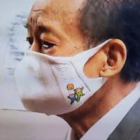 二階俊博幹事長の布マスクイラストについて 他の国会議員も付けていましたが、 二階俊博幹事長が2/8か9に、このマスクをつけていました。  この布マスクに描かれているイラストは、 なんのイラストですか?