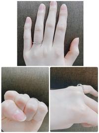 結婚指輪のサイズについて。  質問失礼致します、23女です。 先日結婚指輪を購入しました。銀座ダイヤモンドシライシの細めでメレダイヤが7石付いたデザインのものです。仕事中は外しています。 手が小さく、...