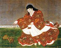 安徳天皇の絵ですが何をしているのでしょうか? ツツミのようなものは何でしょうか?