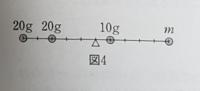 剛体棒におもりを固定してできた物体(図4)の重心が中心であるとき、棒の右端に固定したおもりの質量はいくらになるのでしょうか… 分からないのでどなたか解説をしていただきたいです