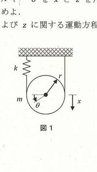 以下の問題で、運動エネルギー、ポテンシャルエネルギーの式の立て方がわかりません。 問題文 図のように、質量m、半径r、慣性モーメントJの均質な円板を考える。重力との釣り合いを基準として、円盤の下方への変位x、回転角θを与える。  問題(1) この時の系の運動エネルギーTと釣り合い位置を基準にしたポテンシャルエネルギーUをxを用いて表せ。  よろしくお願い致します。