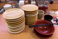 回転寿司では大体何皿ぐらい食べちゃうの〜? (^ω^)b