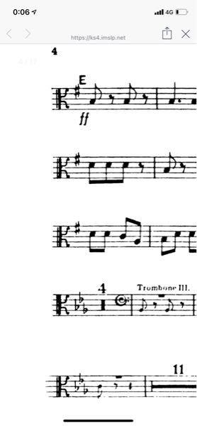 トロンボーン 吹きです。 この画像の記号はなんでしょうか。♯が1つあるということは、そこはFですか?初歩的な質問で申し訳ないですが、よろしくお願いします。