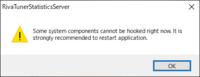 RTSSのエラーが出ていて、アプリが起動できない状態です。 他の方の質問で一度アンインストールしてからインストールするという回答があったので試そうとしたところ、アンインストールが出来なくて解決できな...