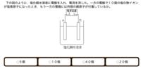至急お願いします。 下の図のように,塩化銅水溶液に電極を入れ,電流を流した。一方の電極で10個の塩化物イオンが塩素原子になったとき,もう一方の電極には何個の銅原子が付着しているか。