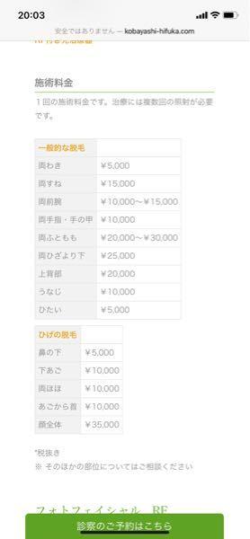 医療脱毛 http://www.kobayashi-hifuka.com/ 高いですよね? 全身したいです。