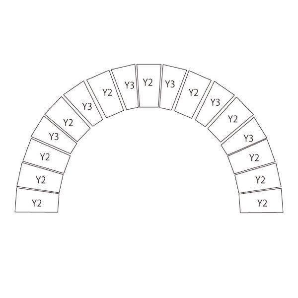 耐火レンガを使って内径42cm〜43cmくらいのアーチを作りたいのですが、どのレンガ(Y-2・Y-3など)をどのように組み合わせたら良いのか分かりません。教えて下さい。