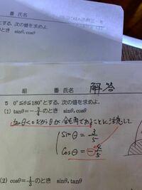 tanθ<0だからθが鈍角であることに注意して という所を  tanθ<0なのでcosθ<0  と書いても正解ですか?   高校1年数学1