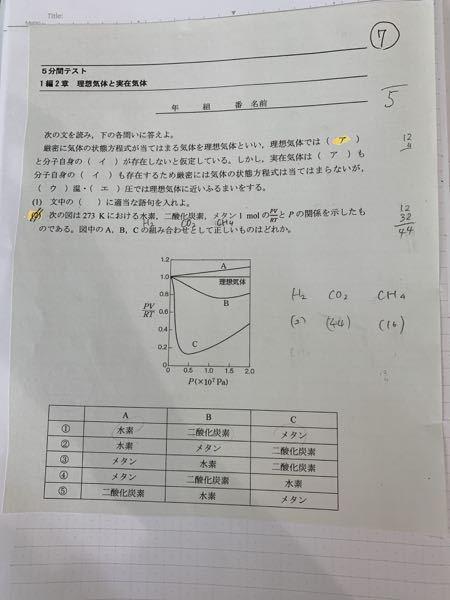 化学(2)の解説をして頂きたいです それぞれの分子量を比べるのでしょうか?