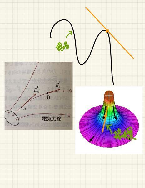 参考書に電気力線の接線の向きが電場の向きとありましたが、実際は下の写真のような向きの接線になりますよね?