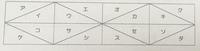 下記の問題を急ぎでご回答して頂ける方宜しくお願いします。 中学がわかるようにご説明していただけると幸いです。 下の図のように、16個の合同な直角三角形がある。 イをセに2回の移動で重ねるには、どのような移動を組み合わせたら良いか。考えられる組み合わせの6種類を説明しなさい