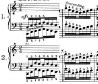 ハノンの上昇と下降のパターンについての質問です。 添付画像はハノンの1番と2番の上昇部分の1小節目と、下降部分の1小節目です。 1番は上昇と下降の際のフレーズが完全に左右対称で、上昇時の右手の指使いと下降時の左手の指使いが同じになっています。これにより上昇と下降をすると両手がそれぞれ同じパターンの練習をすることになります。 2番は上昇と下降の際のフレーズが若干異なっており、左手は常に4と5を...