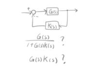 (画像あり)負帰還制御の位相余裕やゲイン余裕を考える時の伝達関数について。 投稿した画像を見てください。 位相余裕やゲイン余裕を考える時の式というのは、 閉ループの、G(s)/(1+G(s)K(s))の位相、ゲインで判断するのでしょうか? または、開ループ(一巡伝達関数)の式、G(s)K(s)の、位相、ゲインで 判断するのでしょうか?