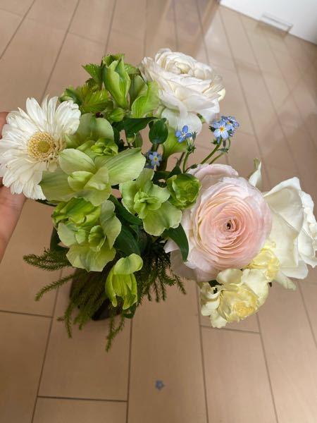 閲覧ありがとうございます。 これらの植物の名前を教えてください! 後輩から貰った花束で、名前が気にになります。 1番端にある見えにくい花は白バラ…だと思います。 白バラを入れて9種類あります。...
