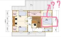 マイホーム 新築一戸建て 図面の見方 教えてください 写真の図面の囲ってある部分は何を意味するのでしょうか? 2階主寝室です。ベットではないし、吹抜けでもなさそうです。