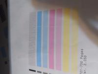 縦の白線  canonMG3600型のプリンターを使っています。 ノズルチェックパターンの印刷をしたところ、このような縦線が入ります。 クリーニングをしても変わりませんでした。 買い替え時なのでしょうか?