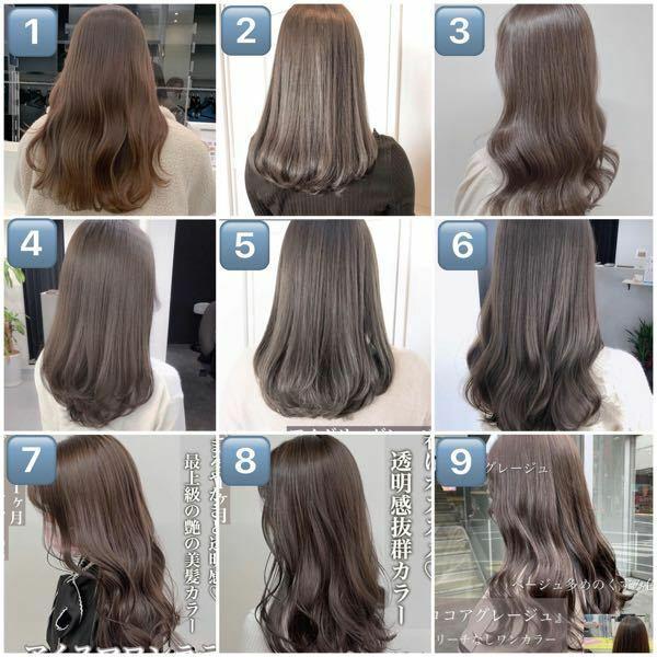 1~9のような髪色をしてみたいのですが、ブリーチをしないとこの色は入らないでしょうか? また、下記のような茶髪でも、色落ちする日数は早かったり赤みの強い茶髪になるのでしょうか? カラーについて全く詳しくないのでわかる方教えてください(; ;) (ブリーチ経験はありませんが、普通のカラー経験はあります)