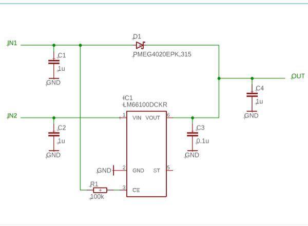 理想ダイオード回路を作りました。これは問題なく動くでしょうか。 ↓このICを使います。 https://www.tij.co.jp/jp/lit/ds/symlink/lm66100.pdf ...