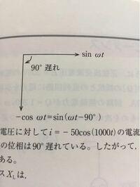 電験三種理論の質問です 現在理論の交流回路の勉強をしています 画像にある部分の-cosωt=sin(ωt -90度)になる理由が知りたいです またこれは三角関数の勉強を復習すれば分かる範囲ですか?それとも物理の角速度の公式ですか?