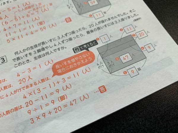 算数の問題です。解説をお願いします。 3行目で何が起こっているのか理解できません。