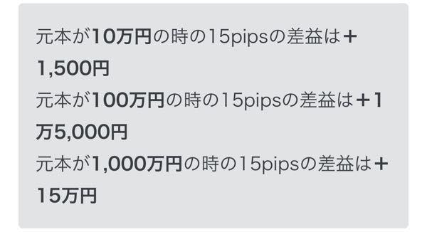 元本が10万円の時の20pipsの利益は2000円です。 元本、10万円に1000倍のレバレッジをかけて、20pipsの利益はいくらですか?