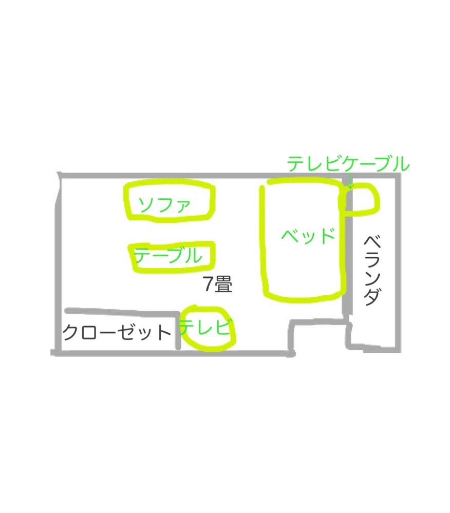1k、部屋のレイアウトの相談です。 現在7畳の部屋のレイアウトを画像のように考えているのですが、テレビケーブルが窓側にあり長くしないといけないです。 配線隠しなども面倒ですので、他のレイアウト例...