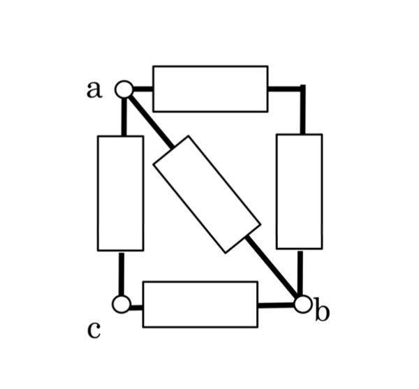 a、b間とa、c間の合成抵抗はそれぞれどうなりますか?抵抗はすべてR[Ω]です。