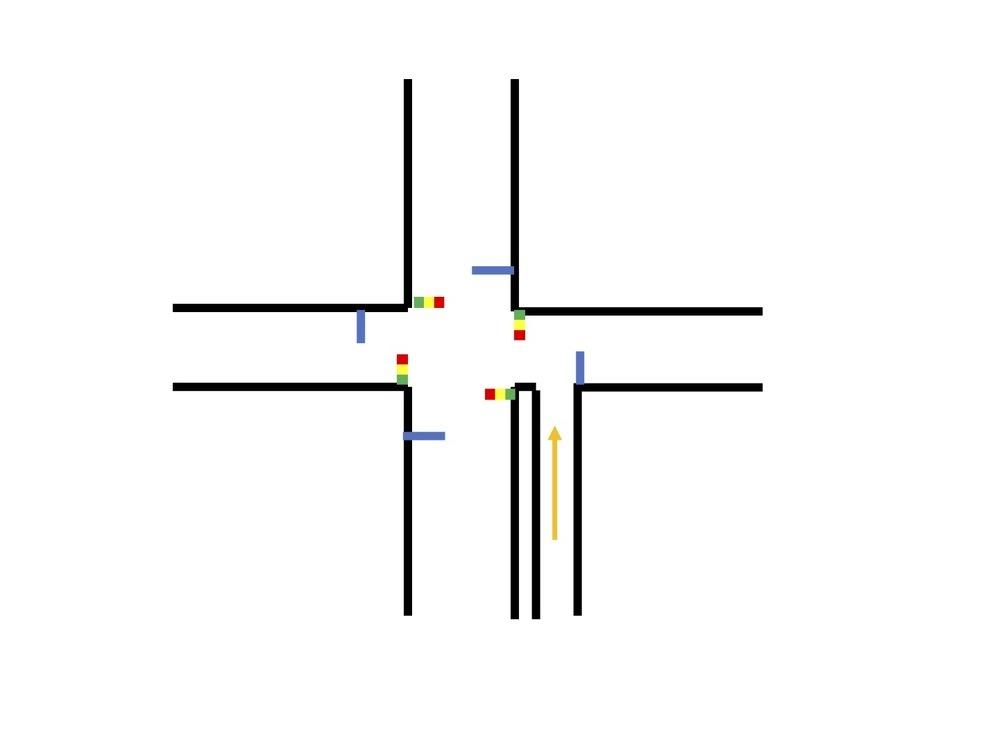 十字路+細い道のルールについて 以下の場合、細い道はどの信号に従うべきですか? 互いに信号のある十字路に、細い道が追加されています。便宜上、東西南北の十字路とします。 細い道は、南の道にほぼ平行で、一旦東の道に合流します。 合流したところは、東の道の停止線より交差点側です。 細い道には停止線は存在せず、一方通行ではありません。 細い道から交差点に侵入する場合、どの信号に従うべきですか? そ...