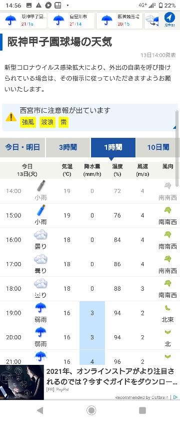 プロ野球 阪神タイガース 首位攻防戦 西VR森下 見たいんですけど試合あると思いますか? 18時では一旦やみますが 19時あたりから降る予報です。 どうやらやりますか?これ。 途中でコールドゲームとか。