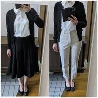明日、工場のパートの面接があります。 服装の指定がない場合はスーツが良いのでしょうか?それとも、私服が良いのでしょうか? スーツはパンツスーツがありますが、意気込みすぎだと思われてしまうでしょうか… 私服の場合はどれが良いと思いますか?  よろしくお願いします。