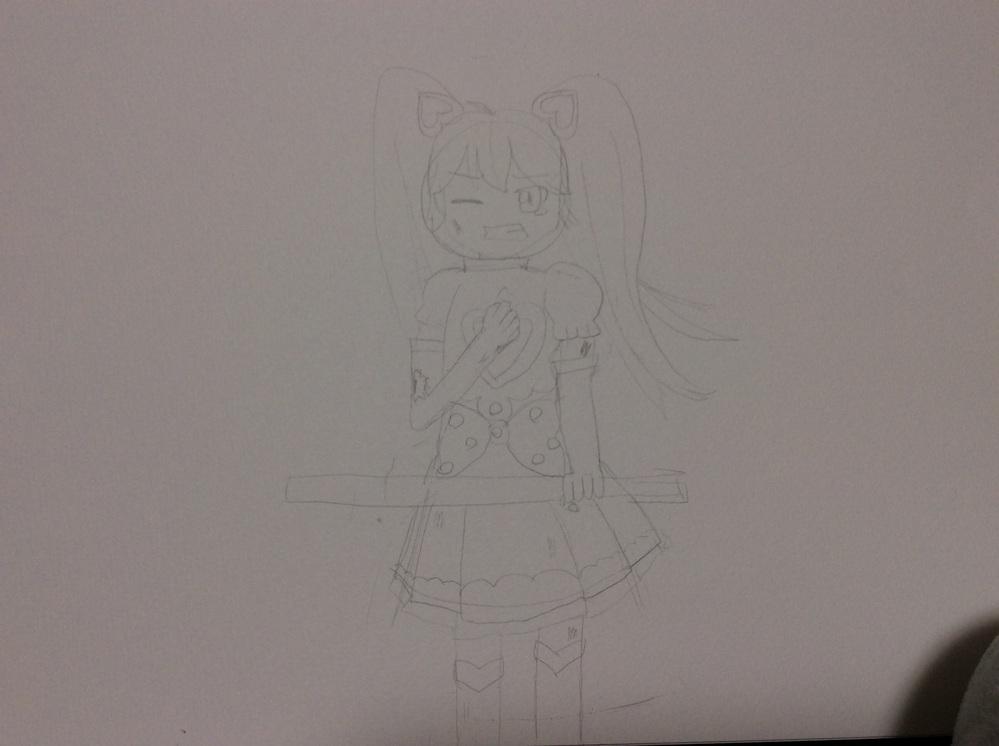 イラストにシワを描きたいです このキャラクターの服にシワを描きたいです。特に右手で掴んでる部分… ご教示頂けたら幸いです