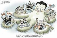 この風刺画ってどういう意味ですか? タコにくるまれてるのは中国と関係が悪いのはなんとなくわかったのですが…