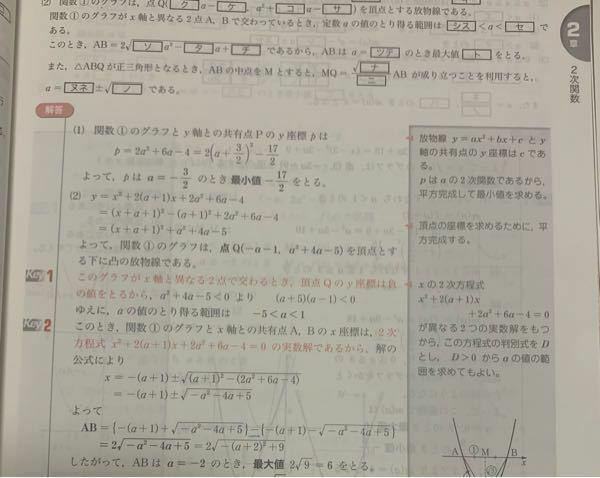 二次関数の問題です。 (2)で解答に青線をつけたところがなぜマイナスなのですか?後、なぜプラスが先でマイナスが後なんですか?