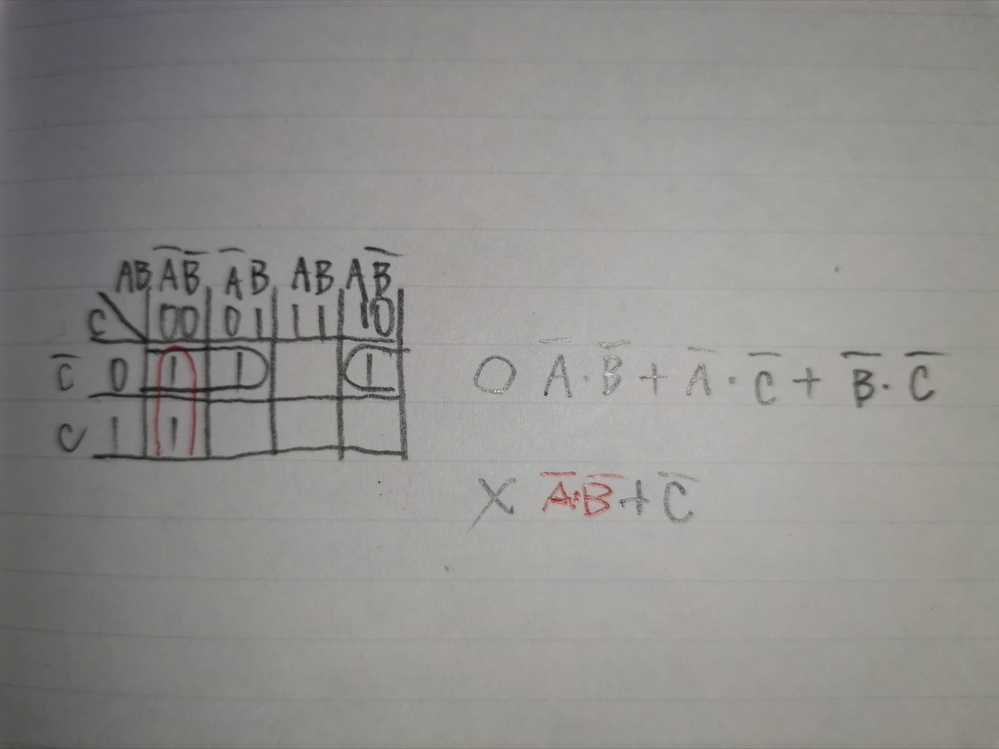 カルノー図の囲い方を教えて下さい。 画像の答えは、上なのですが、自分が囲ったら、下の答えになりました。 カルノー図は、出来るだけ大きく囲むと教わったのですが、何かルールがあるのでしょうか? よろしくお願いいたします。