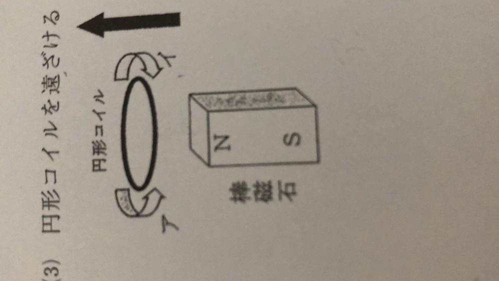 物理が苦手でわかりません。 教えていただきたいです。 円形コイルに流れる電流の向きは、ア、イのどちらの向きになるか教えて下さい。