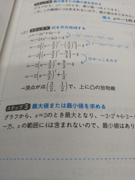 2次関数です 頂点2分の3なのになぜx=2のときが最大なんですか? あと範囲が(2≦x<4)なのになぜ最小値はないんですか? 3を代入したら-4になりますよね? おかしいですねよ? おかしいよな?