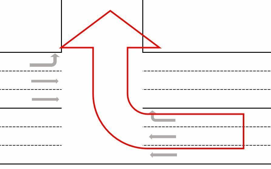 原付バイクの二段階右折について教えてください。 片側三車線の添付のような道路で、赤矢印の方向に行きたい場合、二段階右折って必要ですか? それとも、この場合は通常のように右折して良いものなのでしょうか? 二段階右折をしようにも、停止して信号を待つ場所がありません。
