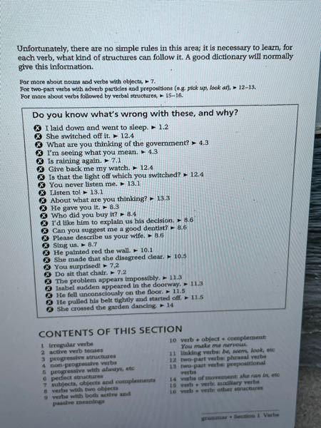 Practical English UsageのSection1の間違ってる部分と理由をかけっていうやつなんですけど、ヒントの1.2とか12.4とか書いてあるのはどこを見ればいいんですか?全く分...