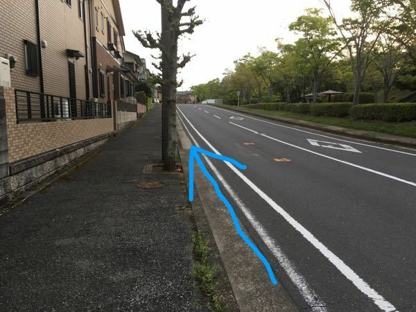 ある道の通行方法について質問があります。 私は時々、画像の道を自転車で通行します。画像にも写っていますがこの道には歩道があり、白線が2本引かれています。 白線が2本引かれている路側帯は自転車で通行出来ませんが、この道には歩道があるので白線の外側は路側帯ではなく車道になると思います。 そのため「白線が2本引かれているが、ここは路側帯ではないので自転車で青矢印を通ってもいい」と解釈したのですが、...
