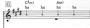画像の音符(1拍)「(シ)x-ha(?)」の演奏方法が分らないのですが。