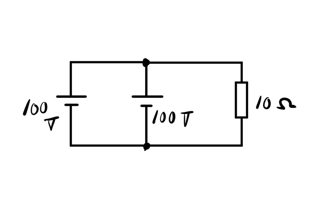 このような直流回路があった場合、抵抗に流れる電流は何Aでしょうか? 10Aでしょうか? 20Aでしょうか?