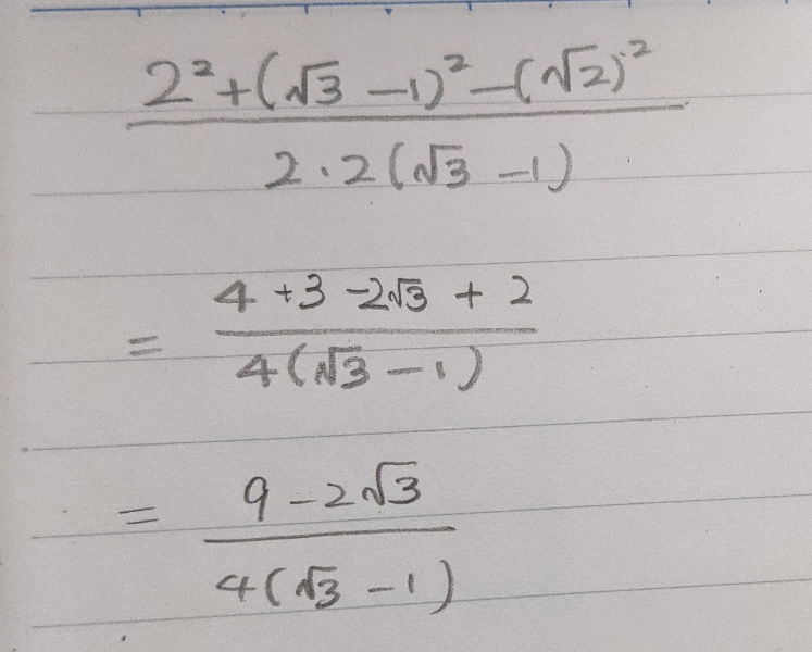 √の計算が全然合いません。 先程も別の√の問題を質問したのでお恥ずかしいですが、この問題の途中式を教えて欲しいです。正しい答えは2分の√3です。 自分が解いたらこうなってしまいました。 基礎がわかっていません。 なので基礎から詳しく教えていただけると幸いです。